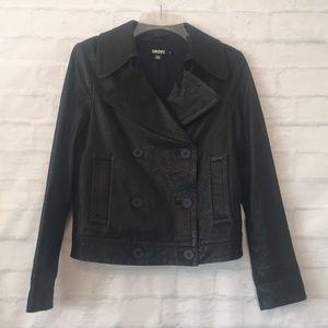 Dkny Black Leather double breasted moto Jacket